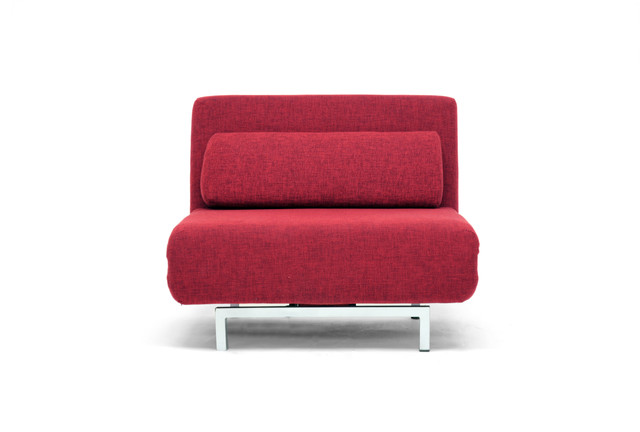 Baxton Studio Red Fabric Convertible Chair Modern