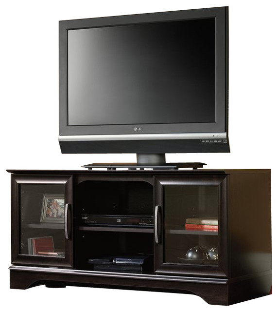 Sauder Panel TV Stand With Post-Mount in Estate Black - Transitional - Entertainment Centers And ...