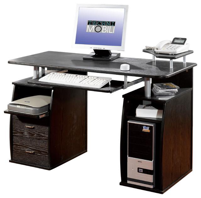 Techni Mobili Dual Pedestal Computer Desk In Espresso
