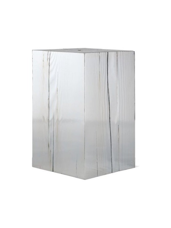 Council, Inc. - 47 Table - Simple meets shine. The simplicity and shape of this wooden end table is superb, but the silver shine is pure perfection.