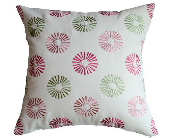 KH Window Fashions, Inc. - Modern Embroidered Dots Pillow in Red and Green, With Insert - This modern embroidered circle pillow will complement any decor.