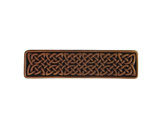 """Inviting Home - Celtic Isles Pull (antique copper) - Hand-cast Celtic Isles Pull in antique copper finish; 3-7/8""""W x 1""""H; Product Specification: Made in the USA. Fine-art foundry hand-pours and hand finished hardware knobs and pulls using Old World methods. Lifetime guaranteed against flaws in craftsmanship. Exceptional clarity of details and depth of relief. All knobs and pulls are hand cast from solid fine pewter or solid bronze. The term antique refers to special methods of treating metal so there is contrast between relief and recessed areas. Knobs and Pulls are lacquered to protect the finish."""