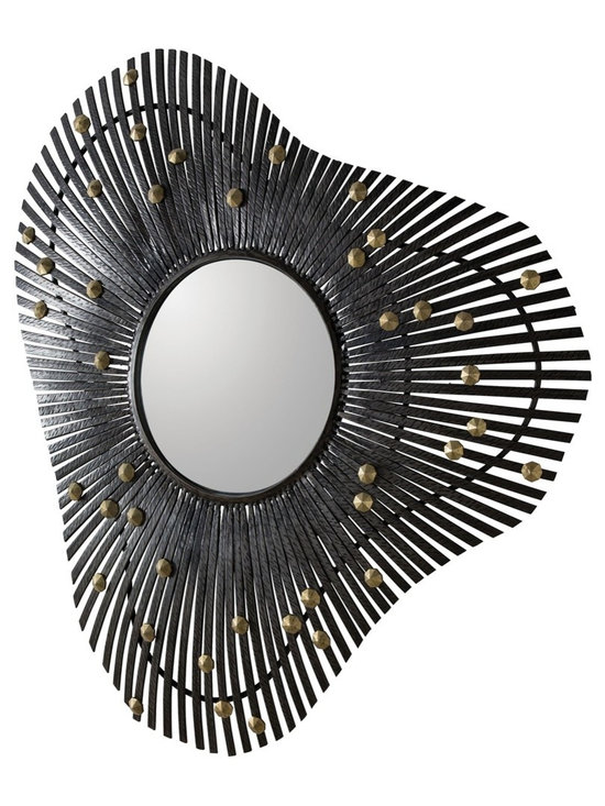 Arteriors Home - Falcon Mirror - Falcon Mirror is made of forged Natural Iron with Antique Brass facet details. ADA compliant. 34.5 inch width x 36.5 inch height x 3 inch depth.