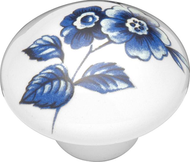 English Cozy Poppy Flower Cabinet Knob, 1 3/8 ...