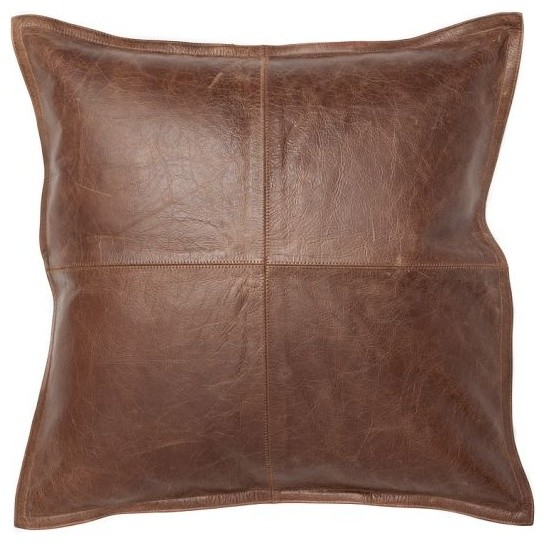 Decorative Leather Pillow : Pieced Leather Pillow Cover, Whiskey - Traditional - Decorative Pillows - by Pottery Barn