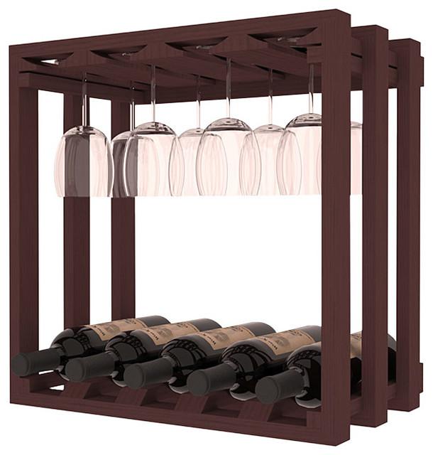 Wine Storage Stemware Cube in Ponderosa Pine, Walnut Stain contemporary-wine-racks