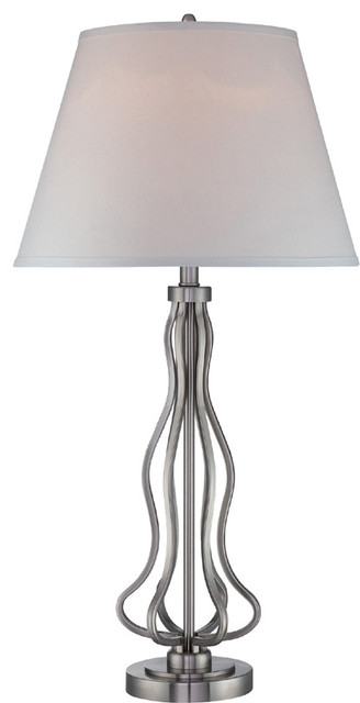 Table Lamp - White Fabric Shade traditional-table-lamps