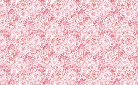 Poppies Line Art Wallpaper contemporary-wallpaper