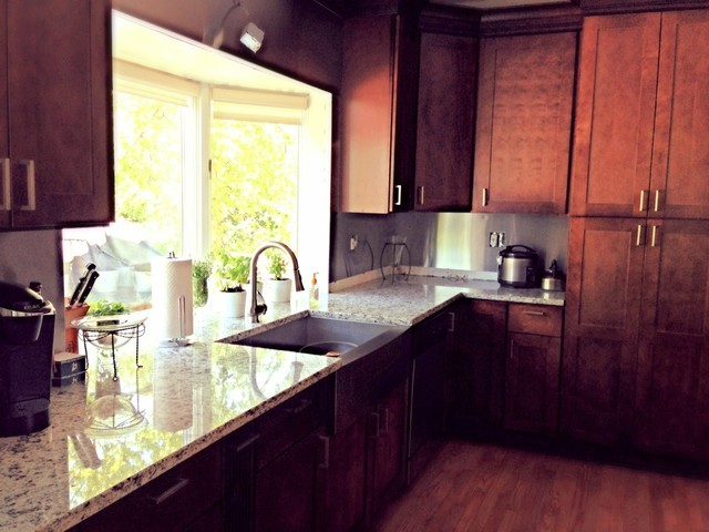 Dallas White Granite Countertops On Cherry Cabinets