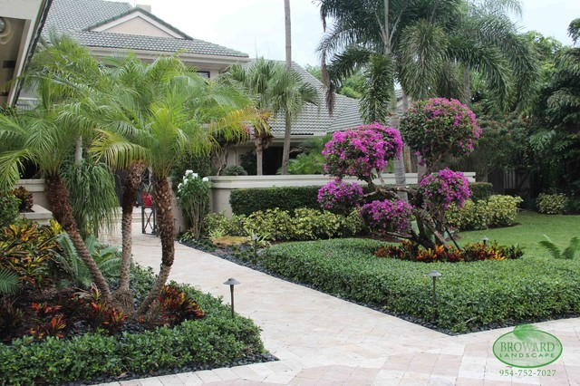 Front yard landscape tropical miami by broward for Landscaping rocks broward county
