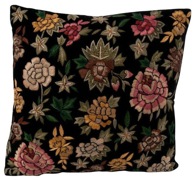Decorative Pillows Retail : Anke Drechsel Velvet Floral Pillow in Deep Purple - $320 Est. Retail - $219 on C
