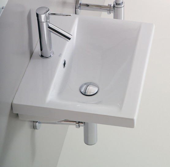 Rectangular Contemporary Wall Mounted or Self Rimming White Ceramic Sink contemporary-bathroom-sinks