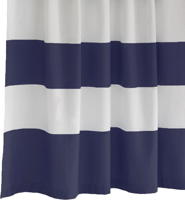 Stripe Shower Curtain Dusty Navy Modern Shower