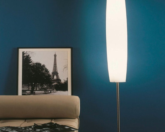 Panona Floor Lamp by Penta Light. Lamps with structure in nickel satin metal. Sh - Panona Floor Lamp by Penta Light. Lamps with structure in nickel satin metal. Shade in opal white blown glass. Panona Floor Lamp by Penta Light are designed by Massimo Belloni.
