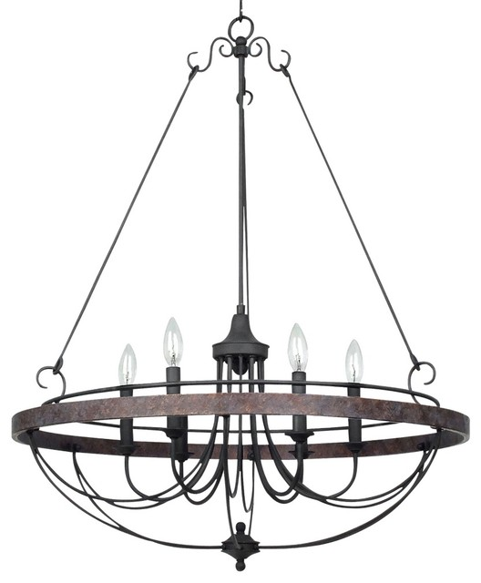 """Iron Helena Bronze 6-Light 28"""" Wide Forged Iron Chandelier traditional-chandeliers"""