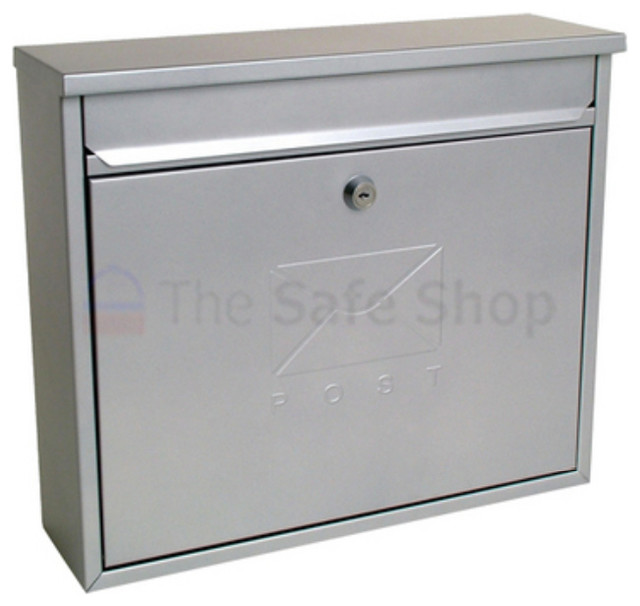 Elegance Galvanized Steel Silver Post Box - Mailboxes - by thesafeshop.co.uk