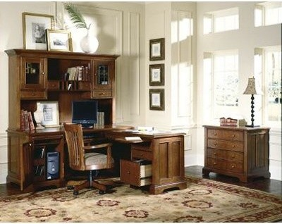 Riverside American Crossing L-Shaped Desk and Hutch in Fawn Cherry modern buffets and sideboards