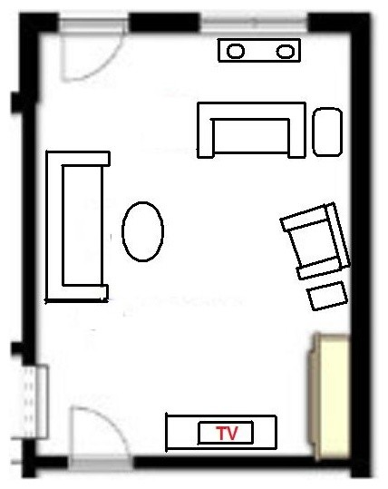 After Floor Plan For A Small Living Room With Corner Fireplace