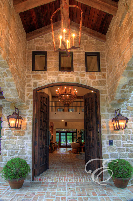 Tuscan Farmhouse Mediterranean Entry houston by Eklektik Interiors
