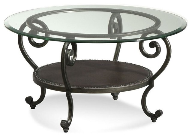 Glass Top Round Cocktail Table W Storage Contemporary Coffee Tables By Shopladder