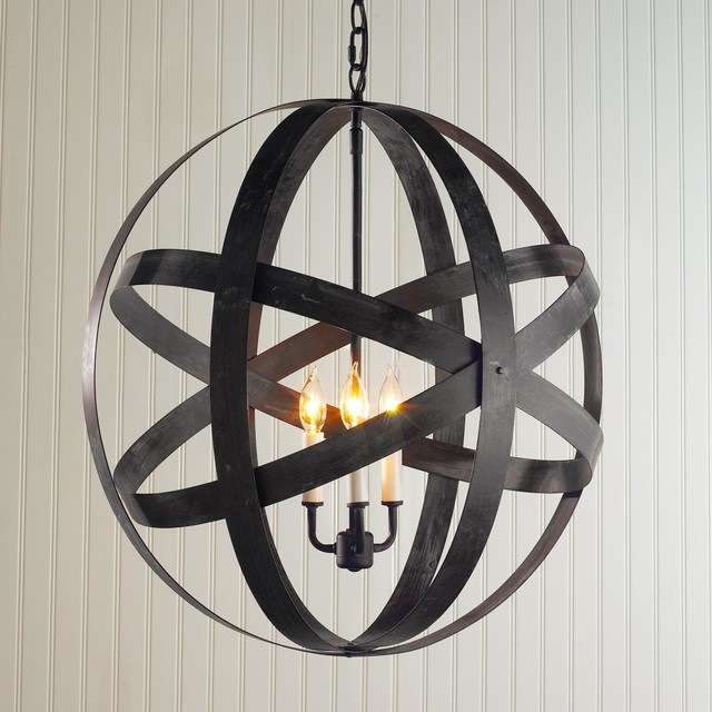 Metal Strap Globe Lantern - Large - Outdoor Hanging Lights ...