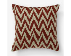 Chevron Crewel Pillow Cover, Ginger/Straw eclectic-decorative-pillows