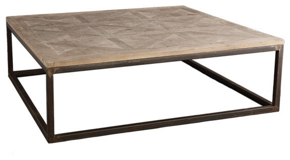 Square parquet top coffee table modern coffee tables by wisteria Metal square coffee table
