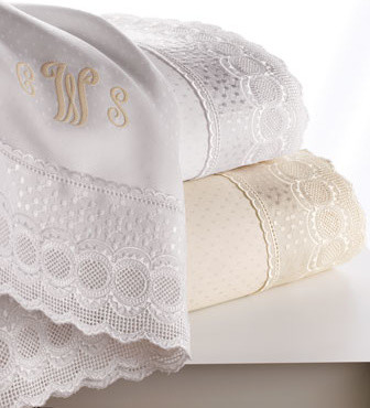 SFERRA Lace-Trimmed King Sheet Set, Plain traditional-sheets