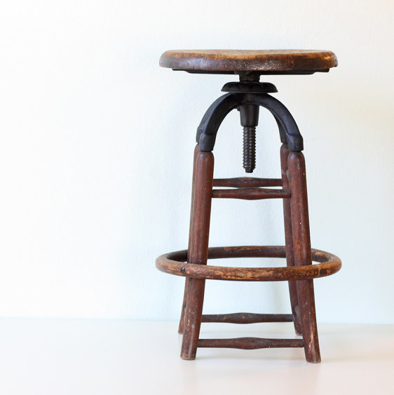 Vintage Industrial Wooden Stool by Bellalulu Vintage  : traditional bar stools and counter stools from www.houzz.com size 562 x 563 jpeg 44kB