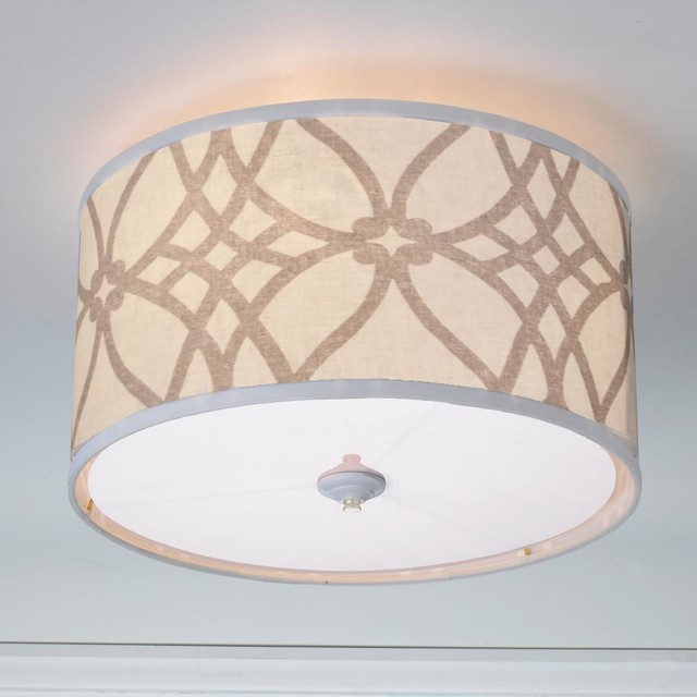 Ceiling Light Covers Clip On : Trellis linen drum shade ceiling light colors lamp