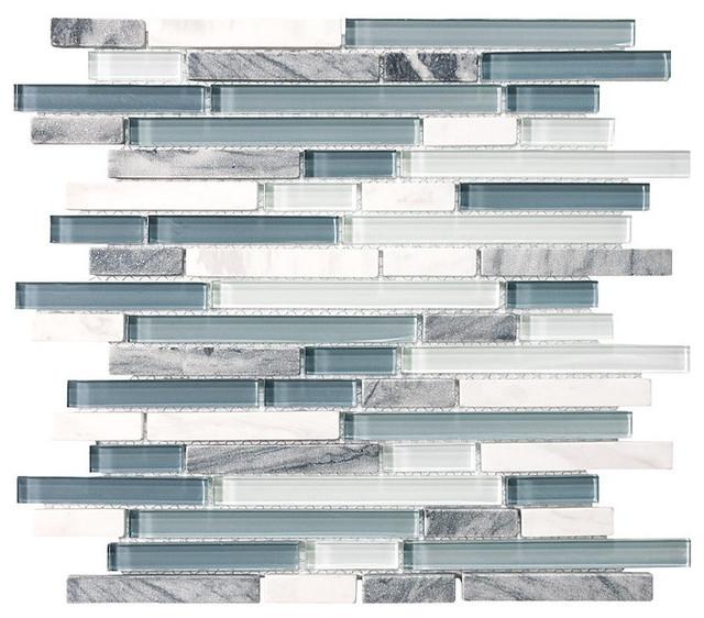 10 Square Feet Bliss Waterfall Random Strip Glass And