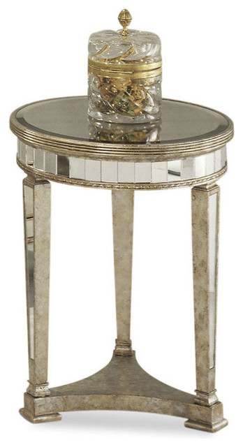 Bassett Mirror 8311-220 Borghese Mirrored Round End Table contemporary-side-tables-and-end-tables