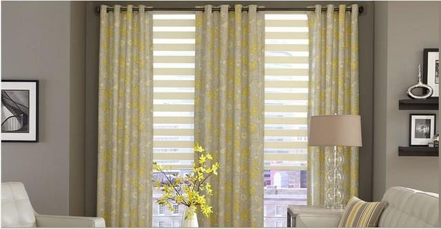 Living Room- Horizontal Sheer Shades & Curtains traditional-venetian-blinds