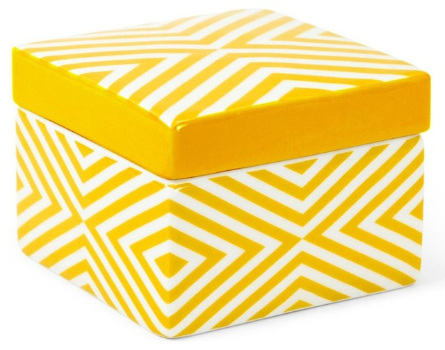 jonathan adler yellow carnaby striped stash box. Black Bedroom Furniture Sets. Home Design Ideas