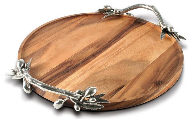 Olive Acacia Wood Round Tray Large Transitional