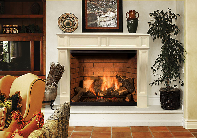 Precast Stone Fireplace Mantel And Raised Hearth By Studio Design Works