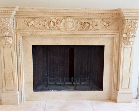Installations - Houston- hand carved marble mantle