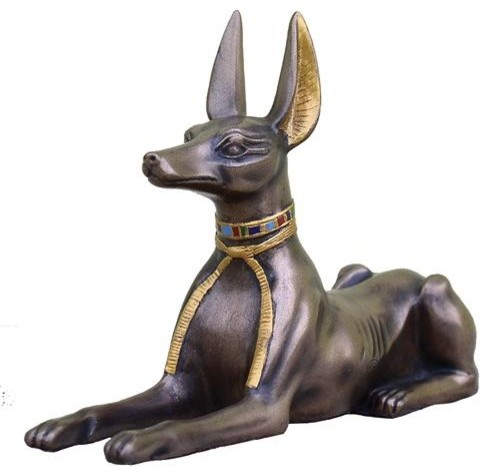 5.5 Inch Cold Cast Bronze Egyptian Anubis Statue with Colored Collar - Contemporary - Decorative ...