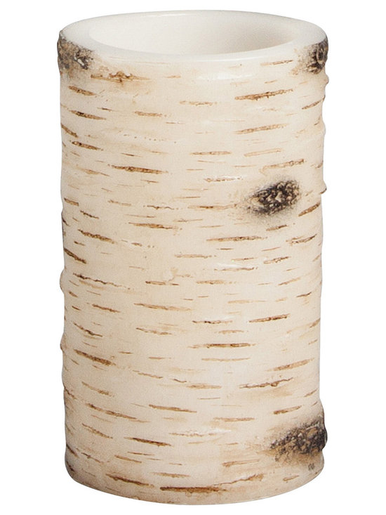 4 inch x 6 inch birch wax flameless LED pillar candle - White Birch -