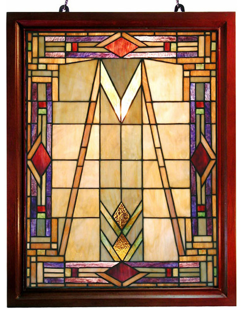 Tiffany-style Mission Glass Window Panel traditional-stained-glass-panels
