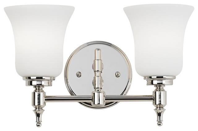 """Traditional 2-Light Etched Glass 13 3/4"""" Wide Nickel Bathroom Fixture traditional-bathroom-vanity-lighting"""