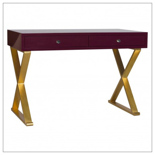 Worlds Away Jared Lacquer Desk with X Base, Oxblood and Gold contemporary-desks