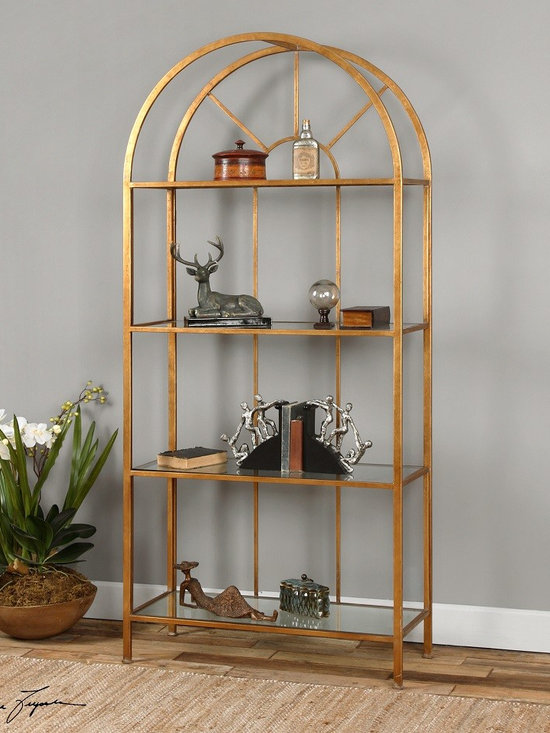 Cireneo Gold Leaf Bookcase Etagere -