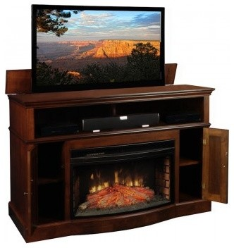 Tv lift cabinets with electric fireplaces contemporary entertainment centers and tv stands - Contemporary electric fireplaces entertainment center ...