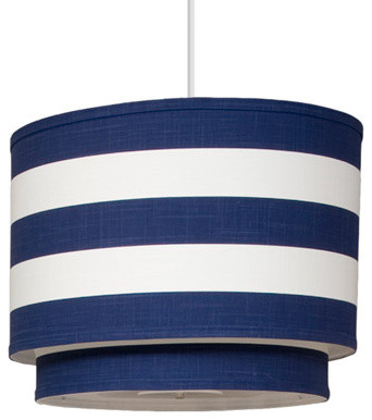 Oilo Pendant Lighting Striped Cobalt Cylinder Double modern-pendant-lighting