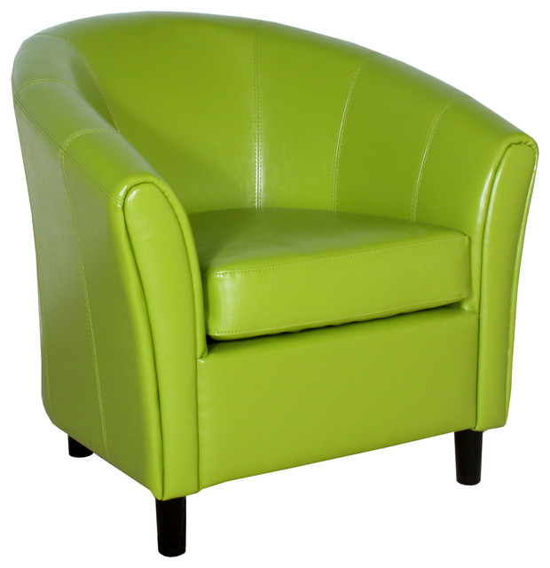 Newport Green Leather Club Chair Contemporary