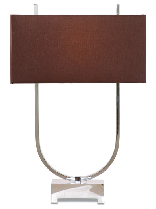 Bassett Mirror - Quasar Table Lamp - The unique U-shaped base that extends above the shade will create a beautiful look for any room.  Chrome plated finish with rectangular earth tone linen look shade.