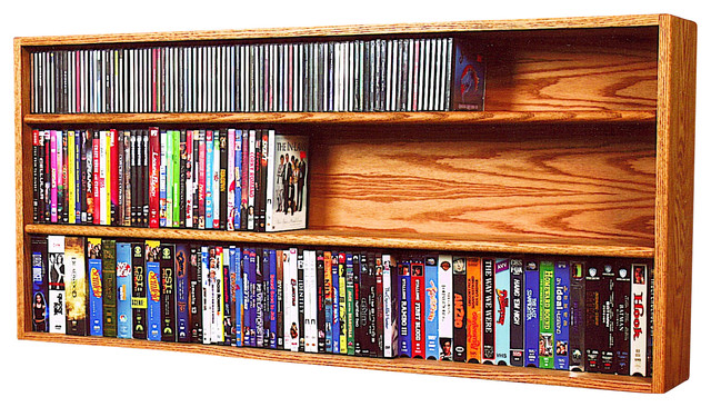 Solid Oak Wall or Shelf Mount for CD and DVD/VHS tape/Book Cabinet - Modern - Media Racks And ...