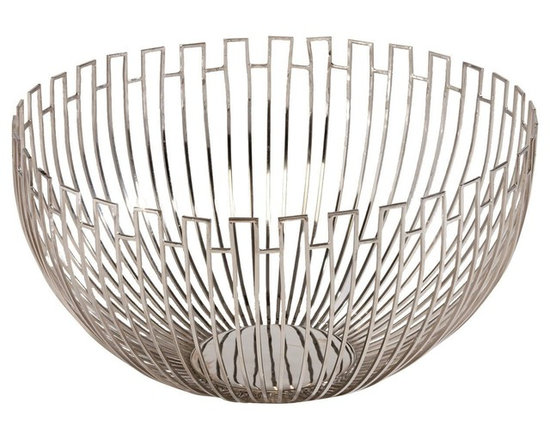 Ethan Allen - Geometric Wire Bowl - With its geometric pattern and centerpiece size, all eyes will be on this modern wire bowl, whatever you put in it (or don't!). Brass wire with a polished nickel finish.