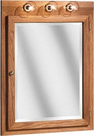 """Bostonian Series 24"""" x 32"""" Red Oak Lighted Medicine Cabinet in Honey Oak Finish - Modern ..."""